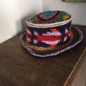 Vintage Accessories - Vintage Woven Bucket Hat Hippie Colorful Boho Cap 015926767872